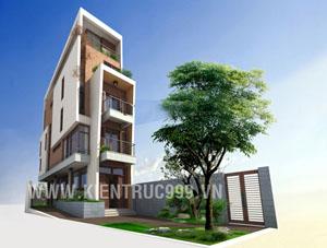 Nhà phố 2 mặt tiền cao 3 tầng có hình khối độc đáo trên khu đất 3,5x16m