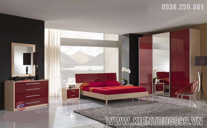 Nội thất phòng ngủ màu đỏ đầy đam mê nồng cháy.