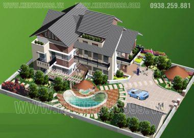 Biệt thự đẹp, Biệt thự cổ điển đẹp, biệt thự 2,3 tầng đẹp trong các thiết kế của công ty HTK