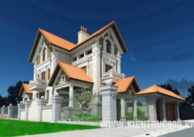 Biệt thự kiểu Pháp đẹp, thiết kế biệt thự đẹp 3 tầng.