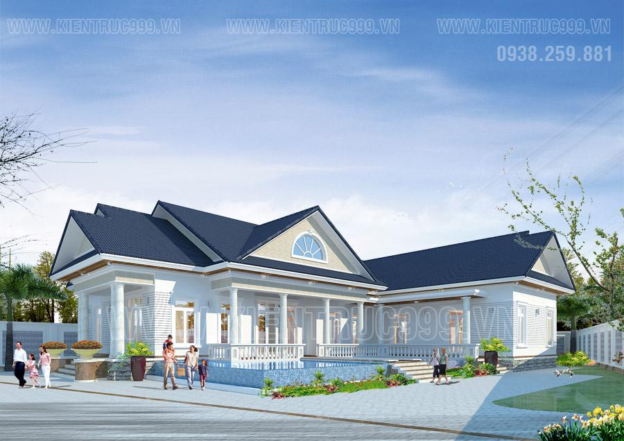 Thiết kế biệt thự sân vườn 1 tầng hài hòa với cảnh quan thiên nhiên.