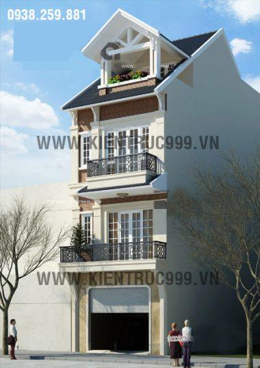 Thiết kế nhà phố mặt tiền 5m theo phong cách gợi nét cổ điển.