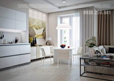 Màu trắng lên ngôi trong thiết kế nội thất căn hộ.