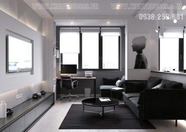 Thiết kế nội thất căn hộ nhỏ 1 phòng ngủ có tủ âm sàn khỏi chê.