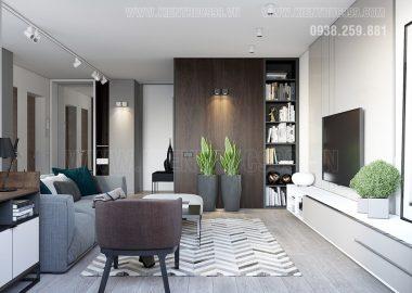 Màu ghi lên ngôi trong thiết kế nội thất căn hộ đẹp.