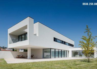 Nhà trắng - Biệt thự hiện đại 2 tầng đẹp vuông hình sắc cạnh