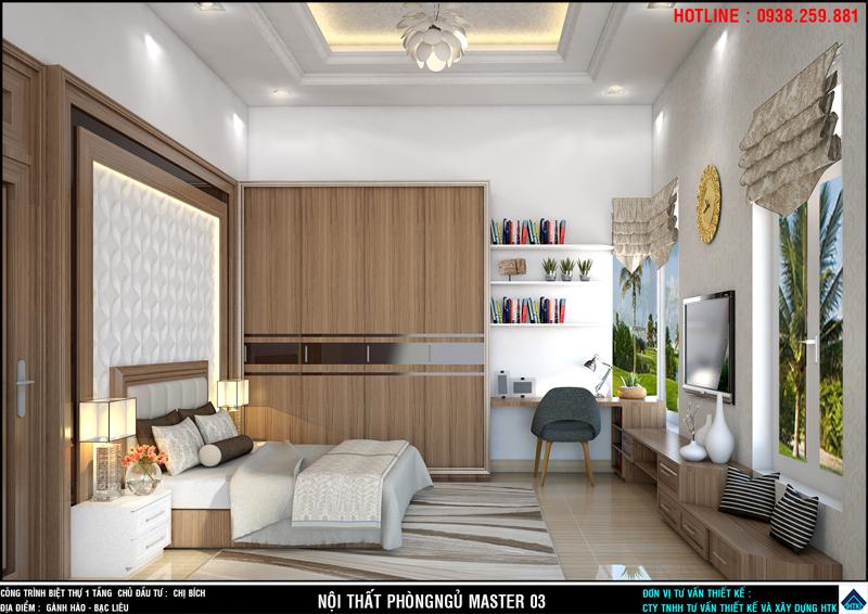 Một góc nhìn khác của không gian nội thất phòng ngủ chính biệt thự bạc liêu