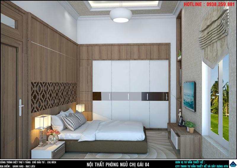 Nội thất phòng ngủ biệt thự 1 tầng Bạc liêu
