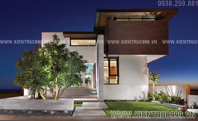Biệt thự 2 tầng đẹp hiện đại có hình khối thiết kế mạnh mẽ ấn tượng ngay lần đầu tiên nhìn thấy.