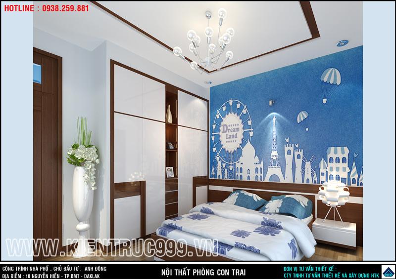 Giấc mơ thế giới kiến trúc của cậu bé thông qua bức tranh di sản thế giới dán ở đầu giường.