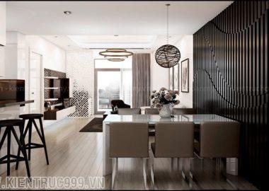 Vẽ đẹp mê hồn của phòng khách trắng đen.