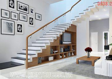 Mẫu thiết kế kệ tủ dưới gầm cầu thang.
