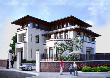 Biệt thự 3 tầng 2 mặt tiền hiện đại, biệt thự lô góc mái thái Tiền Giang