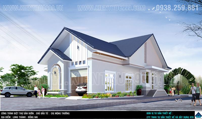 Biệt thự đẹp 1 tầng, nha vuon 1 tang dep, nha dep 1 tang o canh san bay long Thanh 2016