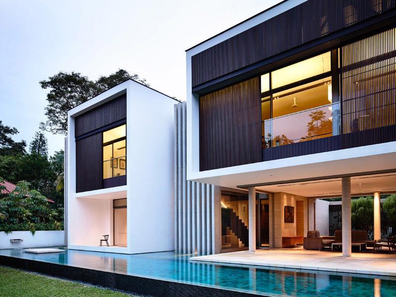 Nhà đẹp 2 tầng nước ngoài với thiết kế hiện đại Singapore