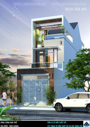 Mẫu nhà phố đẹp Bình Dương mặt tiền 4m3 cao 3 tầng .