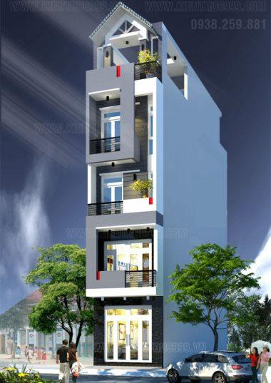 Thiết kế nhà lệch tầng 4x14m đẹp Quận 11- TP.HCM