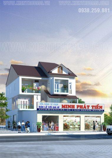 Thiết kế nhà đẹp Long An- nhà phố mặt tiền 13m5 kinh doanh