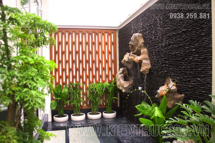 Thác nước hiện đại đẹp hợp phong thủy rất quan trọng nơi sân vườn