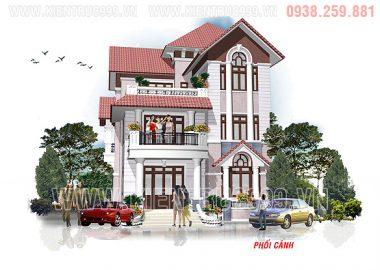 Mẫu nhà biệt thự mái thái 3 tầng cổ điển Bình Thuận