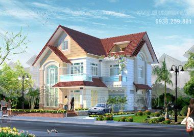 Thiết kế biệt thự 2 tầng chữ L mặt tiền 12m Đà Nẵng