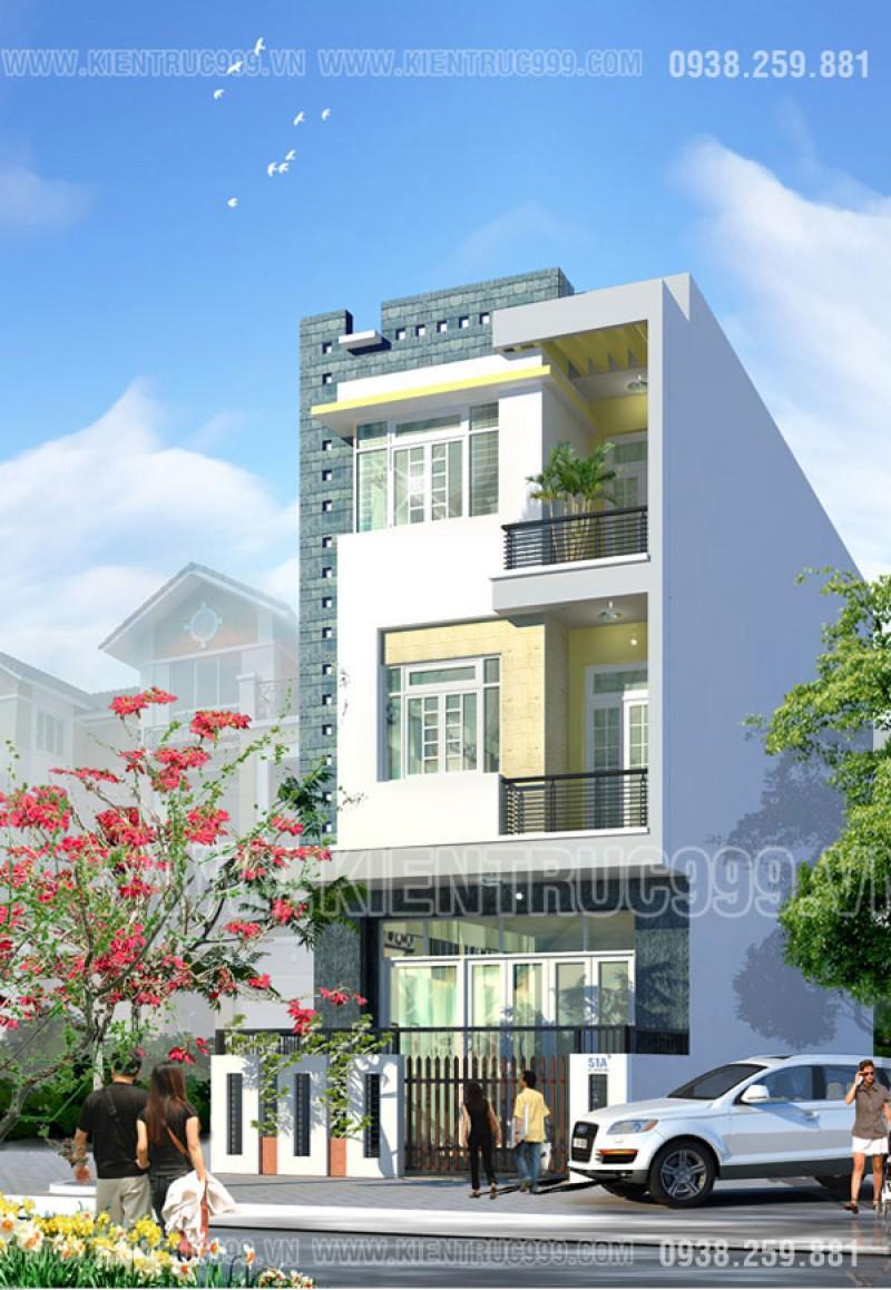 Thiết kế nhà phố 6m x 14m, nhà mặt tiền 6m 3 tầng đẹp- Buôn Mê