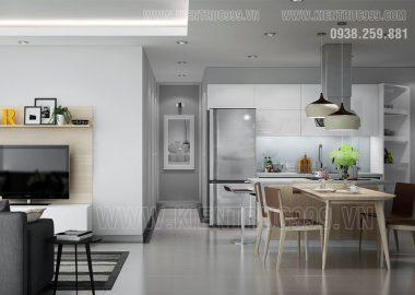 Nội thất căn hộ đẹp với tông màu xám sang trọng.