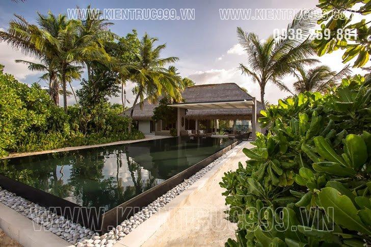 Kiến trúc resort mái tranh sang trọng ở xứ sở nhiệt đới.