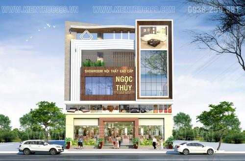 Nhà phố đẹp 4 tầng kết hợp showroom tại Diêu Trì-Bình Định