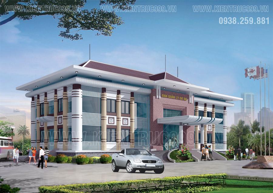 Mẫu thiết kế nhà điều hành 2 tầng có phong cách kiến trúc Việt Nam