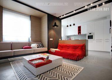 Trắng đỏ đen bộ tam màu quyền lực trong thiết kế nội thất căn hộ.