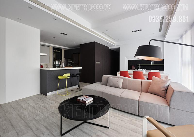Thiết kế thi công nội thất căn hộ tối giản , phối màu trang nhã.