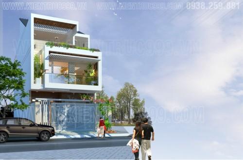 Mẩu thiết kế nhà phố 3 tầng đẹp mặt tiền 7m5 tại đaklak.