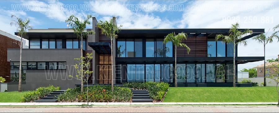 Cây xanh làm tăng tính thẩm mỹ hiện đại của nhà điều hành kết cấu khung thép