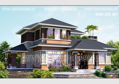 Biệt thự sân vườn 2 tầng phong cách Việt đẹp đáng nhớ ở Cái Bè Tiền Giang