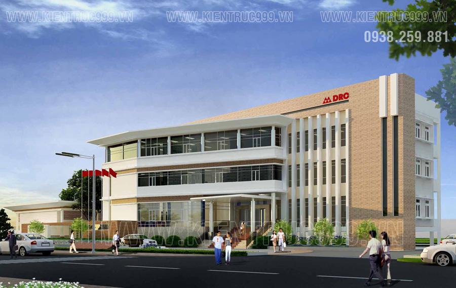 Mẫu tòa nhà văn phòng có thiết kế sinh động, màu sắc ấm áp với tông vàng