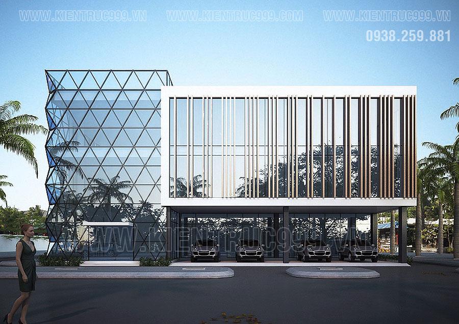 Mẫu thiết kế nhà văn phòng 3 tầng đẹp, sang trọng kiến trúc rất hiện đại, đẳng cấp