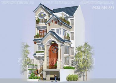 Thiết kế xây nhà đẹp 4 tầng có tầng hầm mặt tiền 7m ở Lái Thiêu Bình Dương