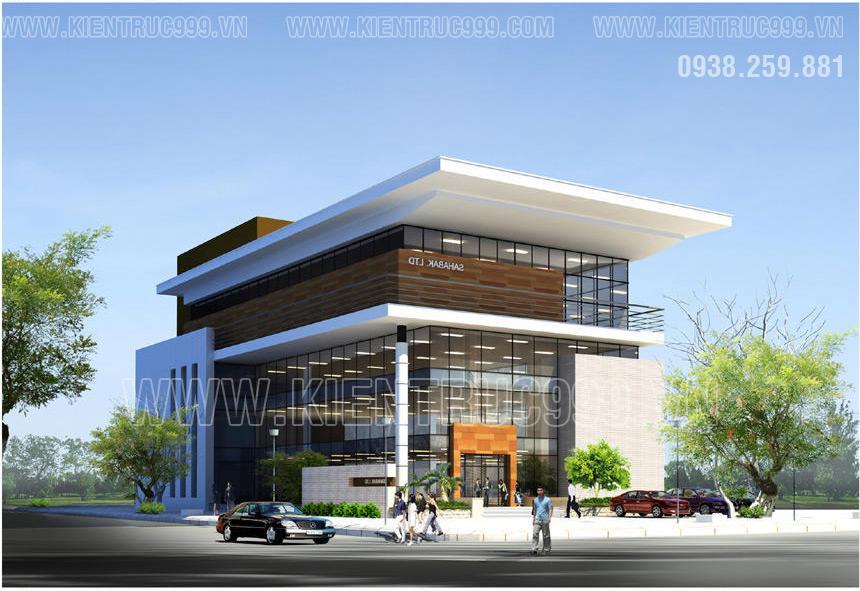 Một thiết kế tòa nhà văn phòng 4 tầng hiện đại diện tích vừa phải khoãng 200m2 mỗi tầng.