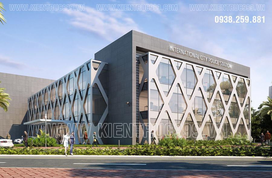 Thiết kế đan lưới bên ngoài của tòa nhà văn phòng bao quanh không gian làm việc bên trong.