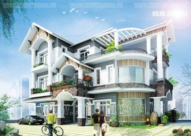 Thiết kế biệt thự đẹp 3 tầng ở Bến Cát - Bình Dương