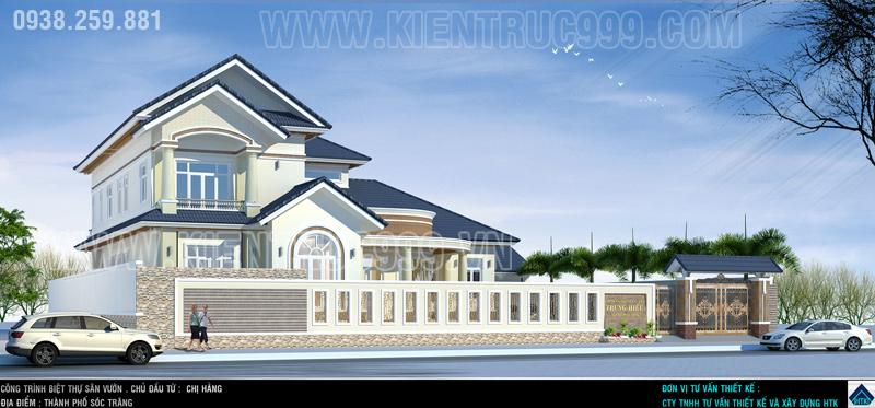 Thiết kế biệt thự đẹp nổi bật tại khu đô thị mới 5A- thành phố Sóc Trăng.