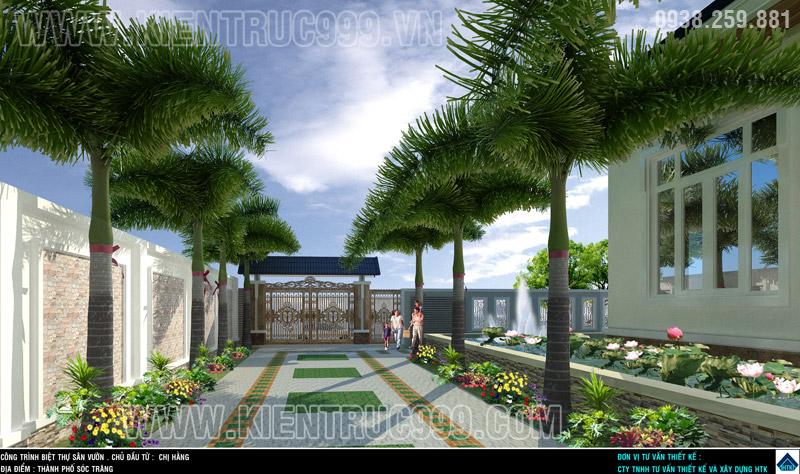 Thiết kế sân vườn biệt thự 2 tầng đẹp Sóc Trăng