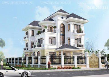 Thiết kế nhà đẹp 3 tầng kiểu cổ điển ở Phú Giáo - Bình Dương