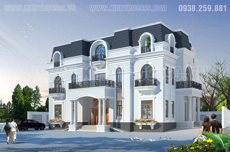 Thiết kế nhà đẹp tân cổ điển có không gian kiến trúc sang trọng