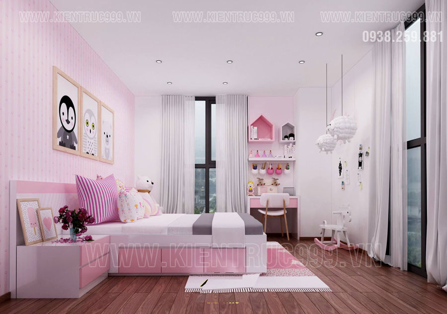 nha dep 3 tang với Phòng ngủ con gái tràn ngập sắc hồng
