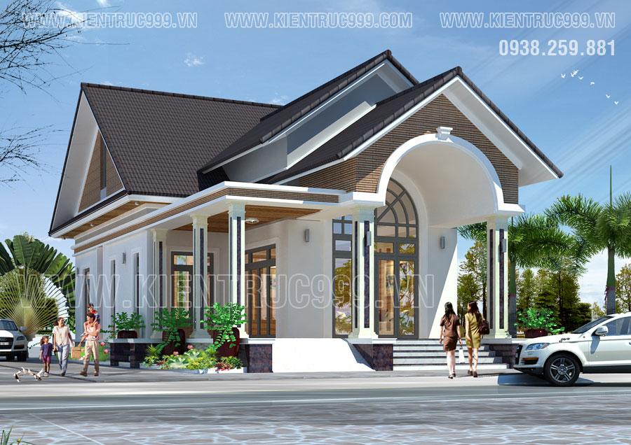 Nhà mái thái cấp 4 đẹp thiết kế cột vuông