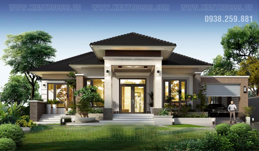 nhà đẹp 1 tầng mái thái kết hợp với thiên nhiên bên ngoài tạo ra những ngôi nhà vườn duyên dáng