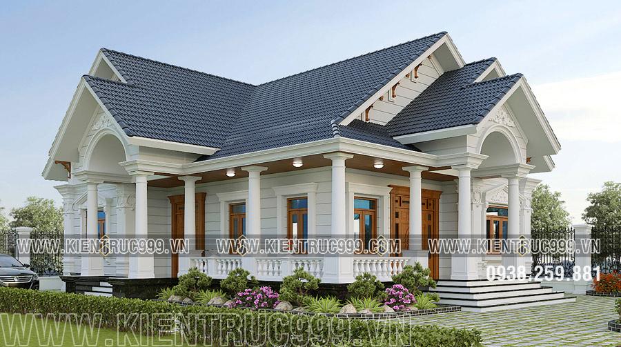 mẫu nhà mái thái 1 tầng thiết kế theo phong cách tân cổ điển bề thế