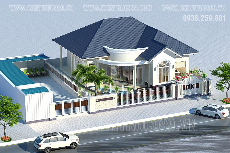 thiết kế nhà đẹp cấp 4 mái thái ở đô thị thành phố lớn dành cho gia đình có điều kiện